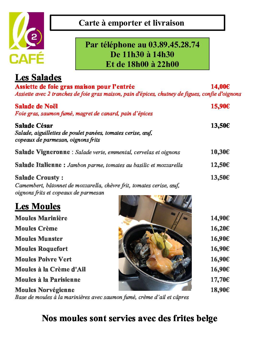 Carte emporter et livraison page 1 salade et moules