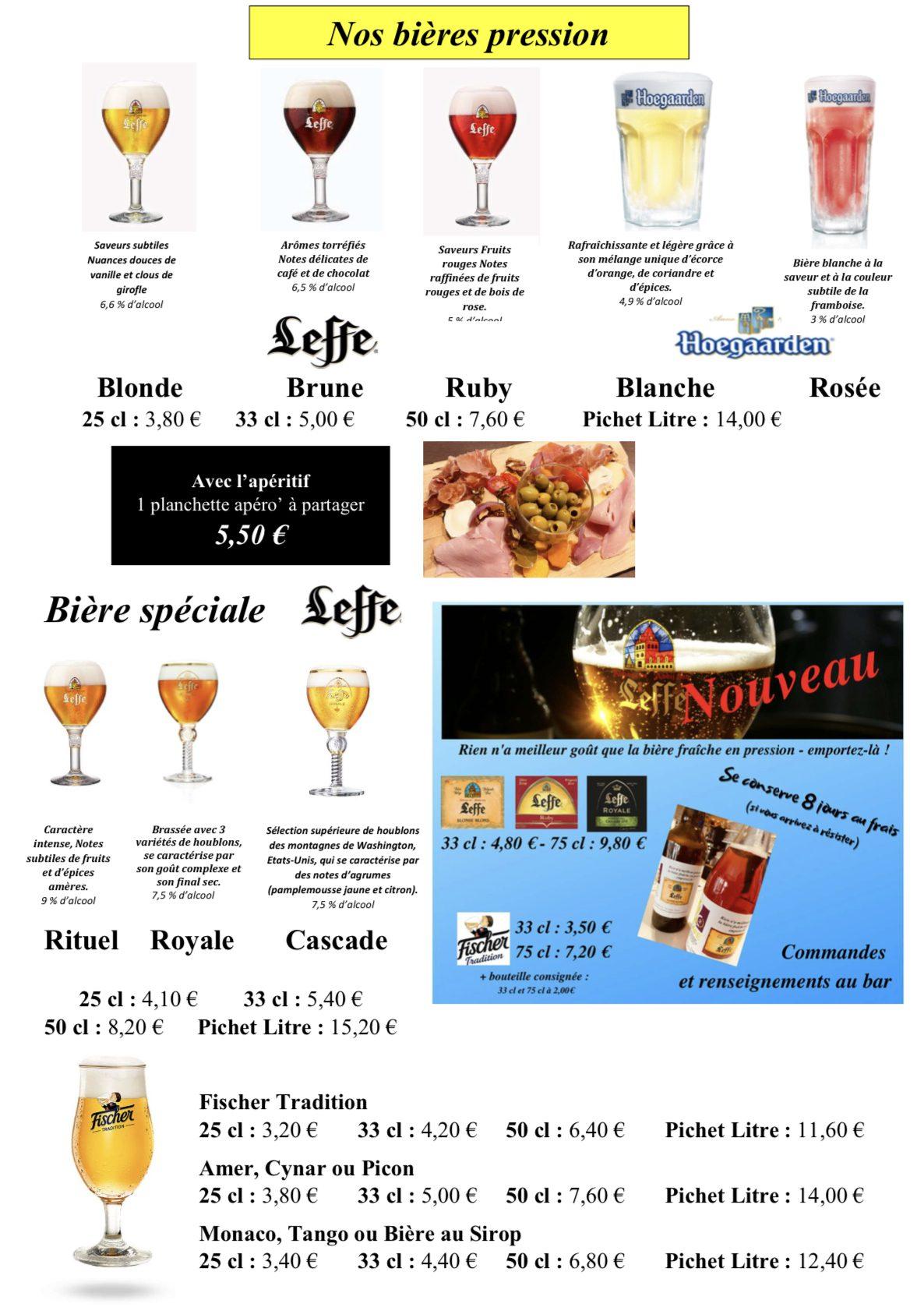 Carte LC2 - Bières pressions